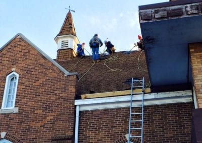 roof installation by roofers in church
