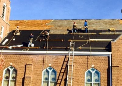 roof installers roofing work at church