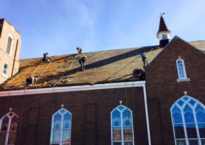 roofing job by roofers in a church