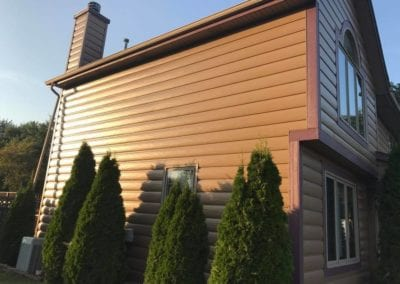 New steel log siding with lp trim | Heins Contracting